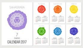 Le calibre de conception du calendrier 2017 avec 7 chakras a placé de 12 mois, le symbole de l'hindouisme, bouddhisme illustration stock