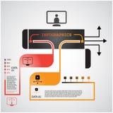 Le calibre de conception moderne pour des données d'Infographics/traitent des étapes Images stock