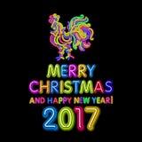 Le calibre de design de carte de salutation de nouvelle année de coq coq de symbole de calendrier de la nouvelle année 2017 ou co Image libre de droits