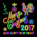 Le calibre de design de carte de salutation de nouvelle année de coq coq de symbole de calendrier de la nouvelle année 2017 ou co Photo stock