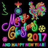 Le calibre de design de carte de salutation de nouvelle année de coq coq de symbole de calendrier de la nouvelle année 2017 ou co Photographie stock libre de droits