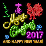 Le calibre de design de carte de salutation de nouvelle année de coq coq de symbole de calendrier de la nouvelle année 2017 ou co Image stock