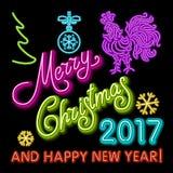 Le calibre de design de carte de salutation de nouvelle année de coq coq de symbole de calendrier de la nouvelle année 2017 ou co Images libres de droits