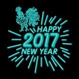 Le calibre de design de carte de salutation de nouvelle année de coq coq de symbole de calendrier de la nouvelle année 2017 ou co Images stock