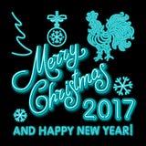 Le calibre de design de carte de salutation de nouvelle année de coq coq de symbole de calendrier de la nouvelle année 2017 ou co Photographie stock