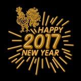 Le calibre de design de carte de salutation de nouvelle année de coq coq de symbole de calendrier de la nouvelle année 2017 ou co Photos stock
