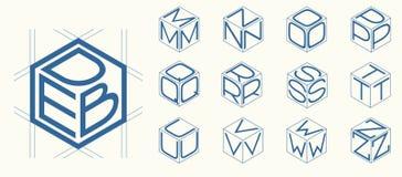 Le calibre de l'ensemble 2 des lettres a inscrit dans les trois côtés le cube, hexagone Image stock