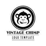Le calibre de logo de société avec le vintage a dénommé le chimpanzé de bande dessinée illustration libre de droits