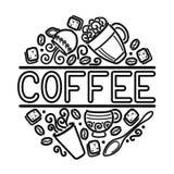 Le calibre de Singboard de café avec des tasses, tourbillonnent vapeur chaude, Graines et sucre Photographie stock