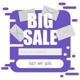 Le calibre de vecteur pour l'email souscrivent dans le pourpre sur un fond blanc Grandes remises de vente illustration de vecteur