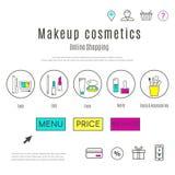 Le calibre de web design du maquillage et les cosmétiques en ligne font des emplettes illustration libre de droits