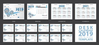 Le calibre 2019, ensemble de calendrier de bureau de 12 mois, classent 2020-2021 l'illustration, le planificateur, débuts de sema illustration libre de droits