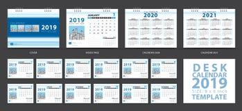 Le calibre 2019, ensemble de calendrier de bureau de 12 mois, classent 2020-2021 l'illustration, le planificateur, débuts de sema photo libre de droits