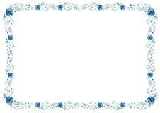Le calibre floral de cadre avec les fleurs bleues et part swirly sur le fond blanc Photographie stock