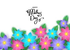 Le calibre heureux de bannière de jour du ` s de mère avec les fleurs coupées de papier, a laissé Image stock