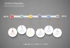 Le calibre infographic de chronologie avec des icônes a placé pour le design d'entreprise Images libres de droits
