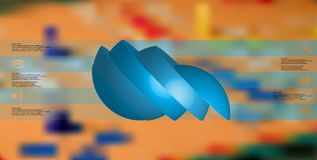 le calibre infographic de l'illustration 3D avec la boule découpée en tranches à cinq parts a tourné pour dégrossir et a décalé Illustration Stock