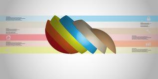 le calibre infographic de l'illustration 3D avec la boule découpée en tranches à six parts a tourné pour dégrossir et a décalé Illustration Stock