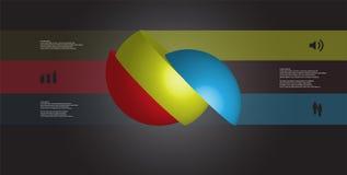 le calibre infographic de l'illustration 3D avec la boule découpée en tranches à trois parts a tourné pour dégrossir et a décalé Illustration Libre de Droits