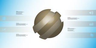 le calibre infographic de l'illustration 3D avec oblique de boule découpé en tranches à cinq a décalé des pièces Illustration Libre de Droits