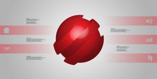 le calibre infographic de l'illustration 3D avec oblique de boule découpé en tranches à cinq a décalé des pièces Illustration Stock