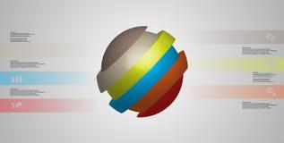 le calibre infographic de l'illustration 3D avec oblique de boule découpé en tranches à quatre a décalé des pièces Illustration de Vecteur