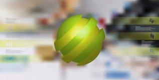 le calibre infographic de l'illustration 3D avec oblique de boule découpé en tranches à quatre a décalé des pièces Illustration Stock