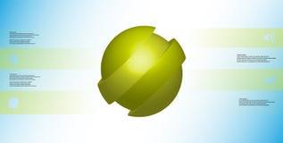 le calibre infographic de l'illustration 3D avec oblique de boule découpé en tranches à quatre a décalé des pièces Illustration Libre de Droits