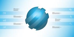 le calibre infographic de l'illustration 3D avec oblique de boule découpé en tranches à six a décalé des pièces Illustration Stock