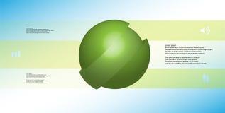 le calibre infographic de l'illustration 3D avec oblique de boule découpé en tranches à trois a décalé des pièces Illustration de Vecteur