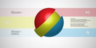 le calibre infographic de l'illustration 3D avec oblique de boule découpé en tranches à trois a décalé des pièces Illustration Stock