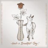 Le calibre romantique de carte d'anniversaire de vintage avec la calligraphie, chat et a monté dans le croquis de vase Image libre de droits