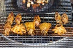 Le calmar et le poulpe ont fait frire avec des épices sur le gril photographie stock libre de droits