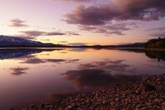 Le calme du coucher du soleil dans le Tetons images stock