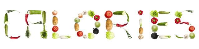 Le calorie esprimono fatto delle verdure Immagine Stock