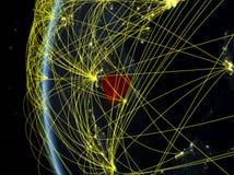 Le Cambodge de l'espace avec le réseau image stock