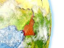 Le Cameroun en rouge sur terre illustration stock