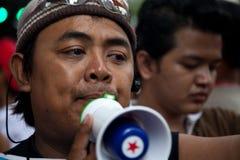 Le camice rosse protestano a Bangkok immagine stock libera da diritti