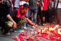 Le camice rosse protestano a Bangkok fotografie stock libere da diritti