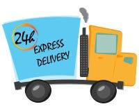 le camion de livraison express d'illustration de vecteur d'artoon avec 24 heures textotent Photos libres de droits