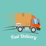 Le camion de livraison rapide avec le mouvement raye, vecteur Photos libres de droits