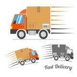 Le camion de livraison rapide avec le mouvement raye, vecteur Image libre de droits