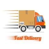 Le camion de livraison rapide avec le mouvement raye, vecteur Images libres de droits