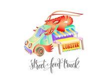 Le camion de nourriture de rue avec le homard, van delivery a isolé d'isolement Photographie stock libre de droits