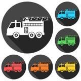 Le camion de pompiers, icônes de caserne de pompiers a placé avec la longue ombre illustration stock