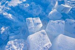 Le camp Barneo aux flocons de neige de modèle de cube en neige de plaine de neige de Pôle Nord raye Photos stock
