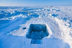 Le camp Barneo aux flocons de neige de modèle de cube en neige de plaine de neige de Pôle Nord raye Photos libres de droits