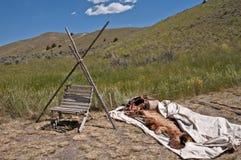 Le camp d'homme de montagne Images libres de droits