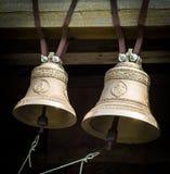 Le campane nel campanile di una chiesa ortodossa Fotografie Stock