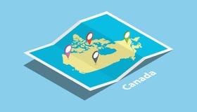 Le Canada explorent la nation de pays de cartes avec le style isométrique et goupillent l'étiquette d'emplacement sur le dessus Photographie stock